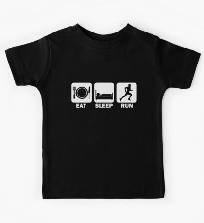 Eat Sleep Run (white) Kids Tee