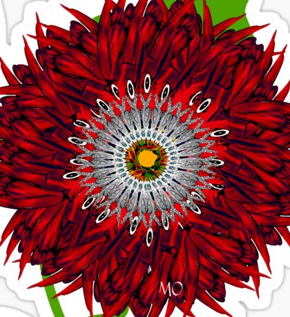 Red Flower in Mo's Garden Sticker