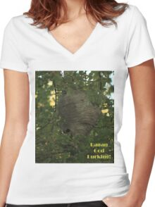 Pagan God Lurking! Women's Fitted V-Neck T-Shirt