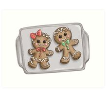 Gingerbread Couple Cookies Art Print