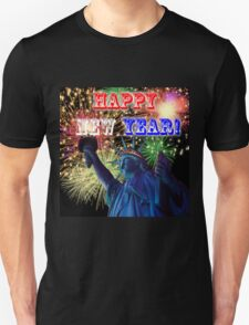 Happy New Year with Liberty and Fireworks Unisex T-Shirt