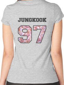 BTS- JUNGKOOK 97 Line Flower Design Women's Fitted Scoop T-Shirt