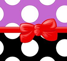 Ribbon, Bow, Polka Dots - Black Purple Red by sitnica
