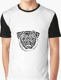 Pug O My Heart Face Graphic ~ black and white Graphic T-Shirt