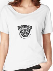 Pug O My Heart Face Graphic ~ black and white Women's Relaxed Fit T-Shirt