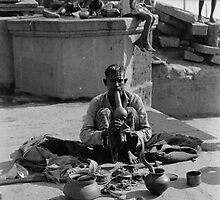 Asia 1920s - snake charming is hard work by Carol D'Amici