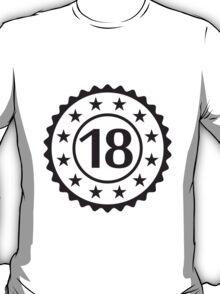 Number 18 Stamp Star Design T-Shirt