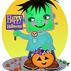 Halloween Little Frankenstien Monster  by Jamie Wogan Edwards