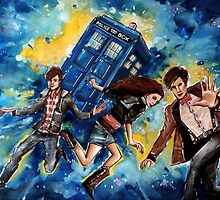 11th Doctor and the Ponds - Doctor Who  by Farbenfrei