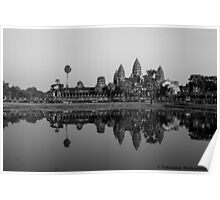 angkor wat at sunset in bnw Poster