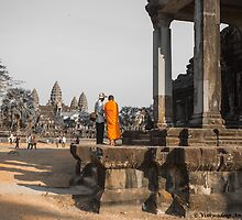 monk and angkor wat by vishwadeep  anshu