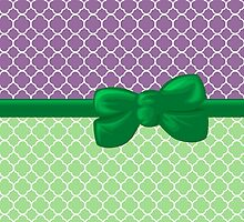 Ribbon and Bow - Quatrefoil Shape Purple White Green by sitnica
