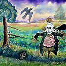 Halloween Field with Funny Scarecrow Skeleton Hand and Crows by ivDAnu