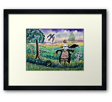 Halloween Field with Funny Scarecrow Skeleton Hand and Crows Framed Print