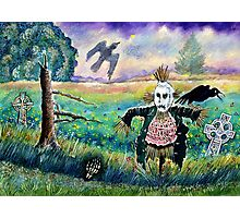 Halloween Field with Funny Scarecrow Skeleton Hand and Crows Photographic Print