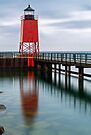 Charlevoix Lighthouse Reflection by Kenneth Keifer