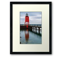 Charlevoix Lighthouse Reflection Framed Print