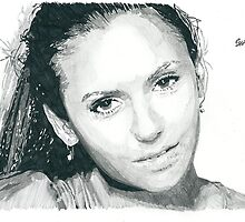 Nina Dobrev Pencil & Ink Sketch by chrisjh2210