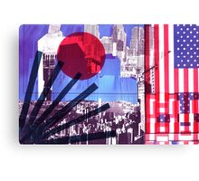 US and Japanese Flags Canvas Print