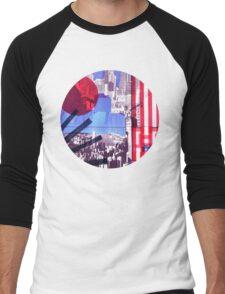 US and Japanese Flags Men's Baseball ¾ T-Shirt