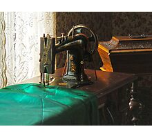 Vintage Sewing Machine Near Window Photographic Print