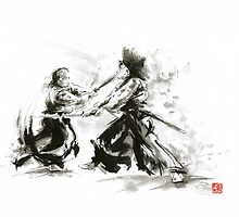 Samurai wild fight old japan bushido katana painting by Mariusz Szmerdt