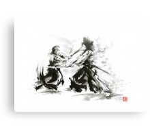 Samurai wild fight old japan bushido katana painting Metal Print