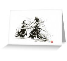 Samurai wild fight old japan bushido katana painting Greeting Card