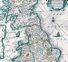 Vintage Antique Map of Britannia by pjwuebker