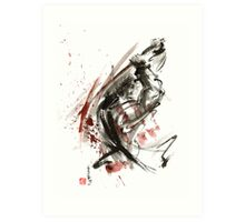 Samurai ronin wild fury bushi bushido martial arts sumi-e original ink painting artwork Art Print