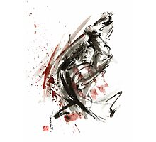 Samurai ronin wild fury bushi bushido martial arts sumi-e original ink painting artwork Photographic Print
