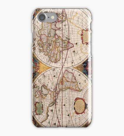 Vintage Map of the Known World Circa 1630 iPhone Case/Skin