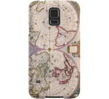 Vintage Antique Map of the World From the Poles Samsung Galaxy Case/Skin