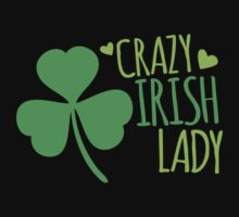 Crazy Irish Lady with green ireland shamrock Kids Tee