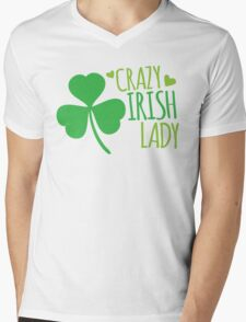Crazy Irish Lady with green ireland shamrock Mens V-Neck T-Shirt