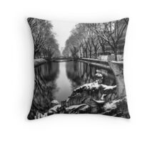 B&W Statue on the Water Throw Pillow