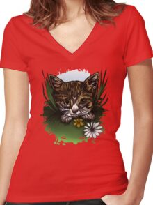 Calico Kitty Women's Fitted V-Neck T-Shirt