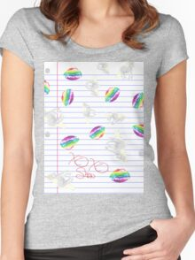 Rainbow Kisses and Unicorn Stickers Women's Fitted Scoop T-Shirt