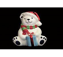 Christmas Bear with present Photographic Print