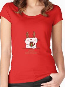 Happy Christmas coffee (Joyeux café de Noel!) / Cat doodle Women's Fitted Scoop T-Shirt