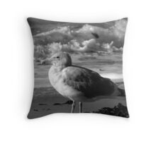 Seaside Seagull Sees Surf Throw Pillow