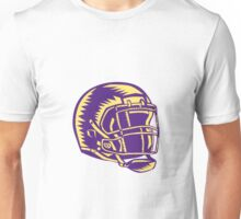 American Football Helmet Woodcut Unisex T-Shirt