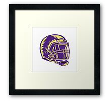 American Football Helmet Woodcut Framed Print