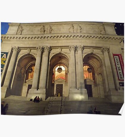 New York Public Library at Night, New York City Poster