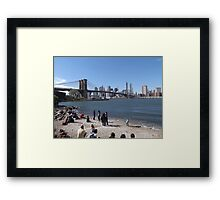 A Beach in Brooklyn, Brooklyn Bridge, Brooklyn Bridge Park, Brooklyn, New York  Framed Print