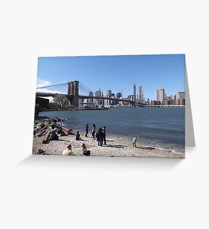 A Beach in Brooklyn, Brooklyn Bridge, Brooklyn Bridge Park, Brooklyn, New York  Greeting Card