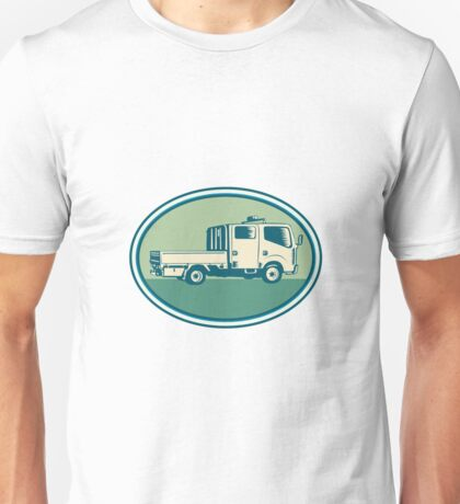 Double Cab Pick-up Truck Oval Woodcut Unisex T-Shirt