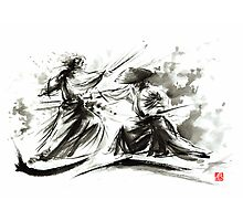 Samurai sword bushido katana martial arts budo sumi-e original ink painting artwork Photographic Print