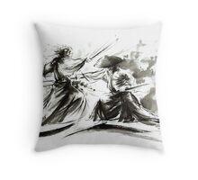 Samurai sword bushido katana martial arts budo sumi-e original ink painting artwork Throw Pillow