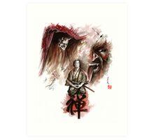 Samurai ronin zen meditation deamons of mind martial arts sumi-e original ink painting artwork Art Print